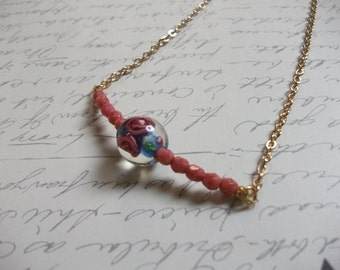 Vintage pink bead gold plated necklace