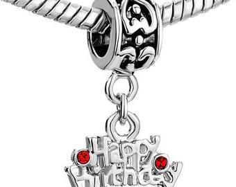 Authentic Pugster Happy Birthday dangle charm fits european style bracelet