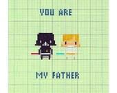Star Wars Father's Day Card - I Am Your Father Luke Skywalker Darth Vader Sci-Fi Geek 8 Bit Pixel Art