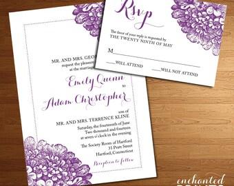 Hydrangea Wedding or Bridal Shower Invitation - Spring or Summer Wedding, Floral, Romantic Design - Printable Wedding Invitations