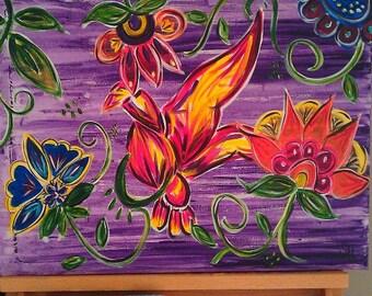 bird in the flowers