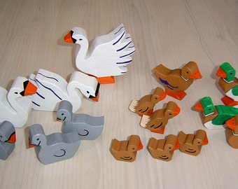 pdf patterns / tutorial for 10 different wooden animals in Waldorf style, DIY - swan, duck, duckling