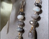 Labradorite and Hematite Dangle Earrings
