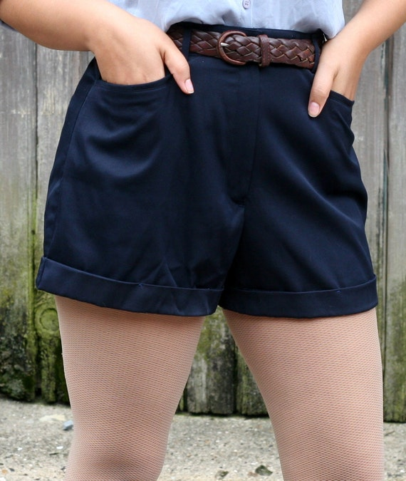 Navy Blue High Waisted Shorts