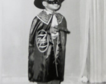 Vintage 1950's African American Black Child Zorro Costume Halloween Snapshot Photograph - Free Shipping