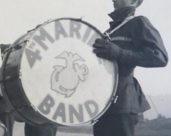 Vintage World War II Era 1946 American USMC 4th Marine Band Snapshot Photo - Free Shipping