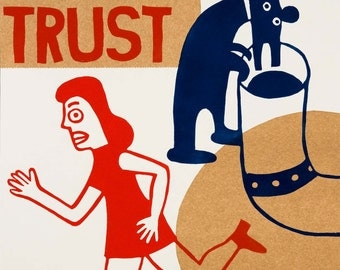 trust  / hand printed woodcut and collage / limited edition