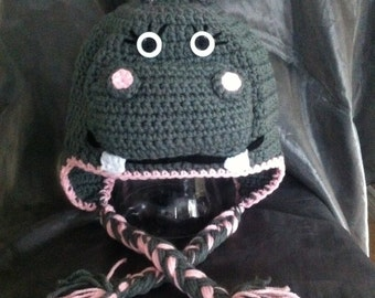 Hippo Crochet Ear Flap Hat MADE TO ORDER any size