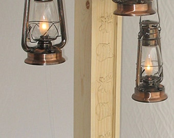 rustic floor lamp with old fashioned electrified kerosene lanterns u0026 bear and moose carvings one