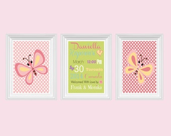 Nursery Decor Butterfly Personalized Name Custom Wall Art Pink Green baby's room Print Set of 3 - 8x10 - Girl's room Decor - Kids Room