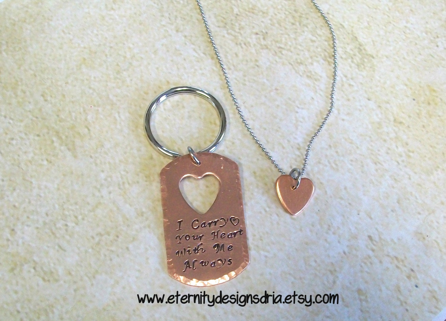 handstamped  personalized couples keychain by eternitydesignsdria
