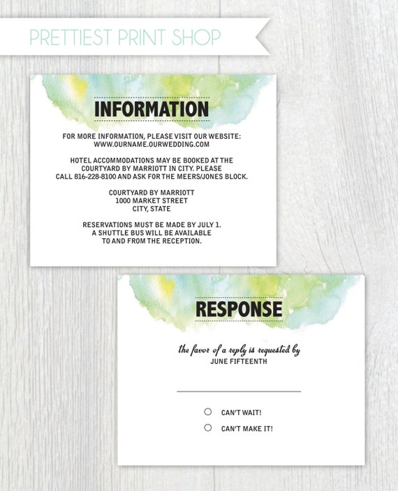 Printable Wedding Invitation Enclosure Cards RSVP And