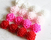 16 Pcs, Resin Flower Cabochons, Mum and Rose 10mm, 4 Different Colors, White. Pink, Hot Pink, Red