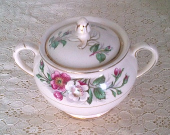 Vintage John Maddock & Sons Ltd. Royal Ivory Sugar Bowl with Lid - Wild Roses and Gold Trim - Made in England