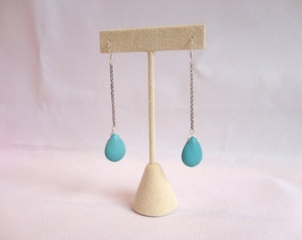 Blue Howlite Earrings, Silver Chain Earrings, Howlite Teardrop, Teardrop Earrings, Long Silver Earrings, Long Earrings, Statement Earrings