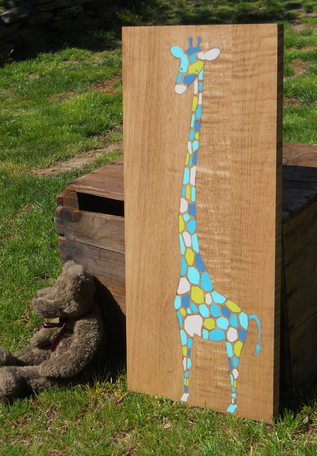 Nursery Wood Wall Decor : Wood wall art giraffe nursery decor