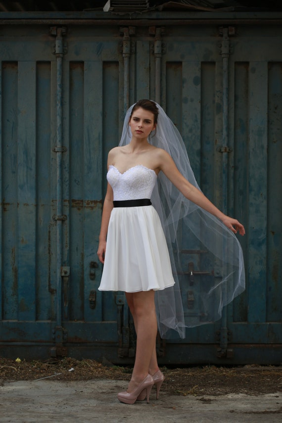 1000 Images About Short Dress Long Veil On Pinterest