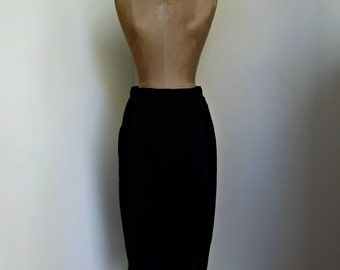 Vintage Black Velvet High Waisted Pencil Skirt with Pockets
