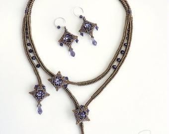 Instant Download - Mokuren - Bezel, Necklace and Earrings - Beading Pattern - Dimensional Peyote, Herringbone,