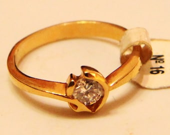 18k Gold Plated Ring with zircon