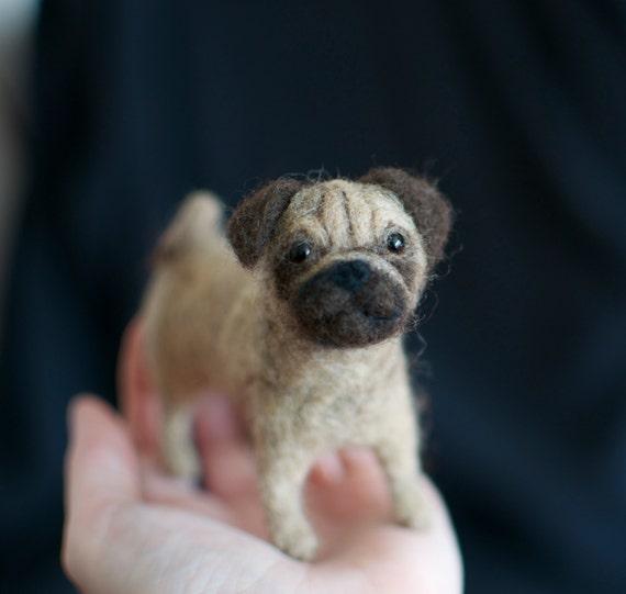 Needlecraft Custom Pet Portrait - Pug - 3D felt wool sculpture - Made To Order