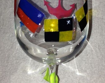 Nautical flags personalized wineglass