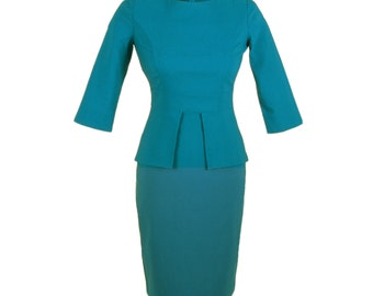 Petite teal peplum dress