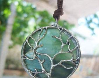 Tree of Life Pendant - Stained Glass Necklace - Olive Green Art Glass