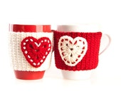 Crochet mug cozy warmer, Mug warmer, Christmas, heart, cup cozy, winter, tea cozy, Red White Cream, Set of 2, Available in two sizes