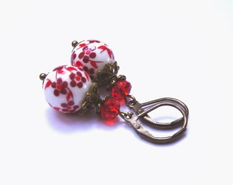 Earrings porcelain beads