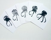 Octopus Cards, Set of Five Blank Cards, Lino Print, Hand Printed Cards, Black and White Nautical Greeting Cards, Home Decor - StudioFroezel