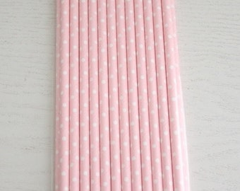 25 Paper Straws - Baby Pink with White Spots