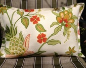 "18"" x 12"" Outdoor Pillow in Orange, Pink, Grass Green and Kiwi Summer Floral"