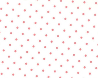 Polka Dot Fabric - Essential Dots = Peony on White Moda 8654 69 - 1/2 yard