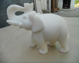 White Marble Carved Elephant 6 Inch Height