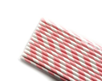 Salmon Pink Striped Paper Straws, Barber Shop Style (25)