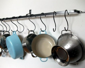Wall pot rack, bespoke lengths, pan, hanging, kitchen, mounted, made to measure