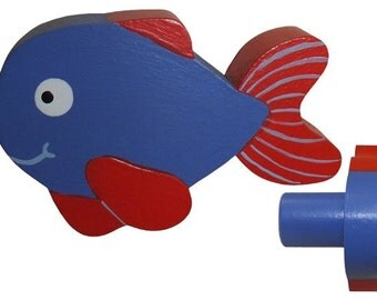 Fish Drawer Knob - Red and Blue Fish Drawer Pull