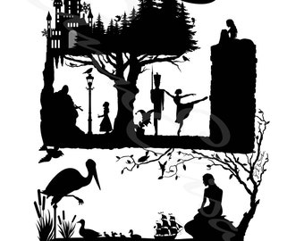 Hans Christian Andersen Fairy Tales Silhouette Collage