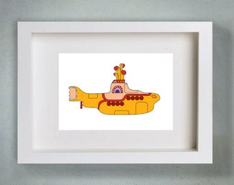 Yellow Submarine  - Typography Art Print - 8 x 10 in.