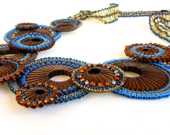 Modern Blue and Brown Bib-Style Beadwoven Wood Efflorescence Statement Necklace