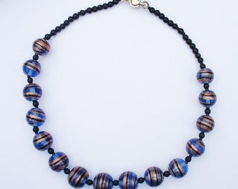 Vintage Hand Painted Midnight Blue Glass Choker Necklace