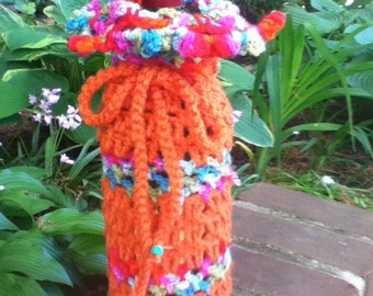 Handmade (Crochet)Orange with Multi-Colored Top Wrap