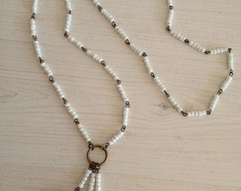 Handmade necklace with white beads