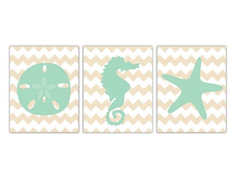 PRINTABLE Beach Prints On Chevron Wall Decor // Digital file // Three Piece Set // Wall Art // Seahorse Sand Dollar Starfish