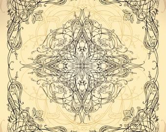 Art Nouveau Floral Vintage Ornaments Set of 21 PS Brushes // Photoshop Brushes / Hand Drawn Flourish  / Clipart  / High Resolution Brush Set
