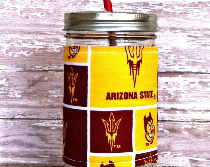 Mason Jar Tumbler 24oz ASU Sun Devils Insulated Cozy BPA Free Straw - Travel Mug Great Gift