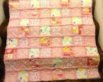 Baby Girl Pink Rag Quilt