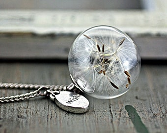 PURE & SIMPLE silver necklace with Real Dandelion Seeds in glass orb and WISH charm