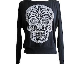 Blank Sugar Skull Mask Template Sweater - sugar skull